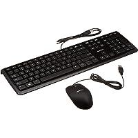 Amazon Basics Wired Pack de Teclado y Mouse, Paquete de 1, Negro, con Cables