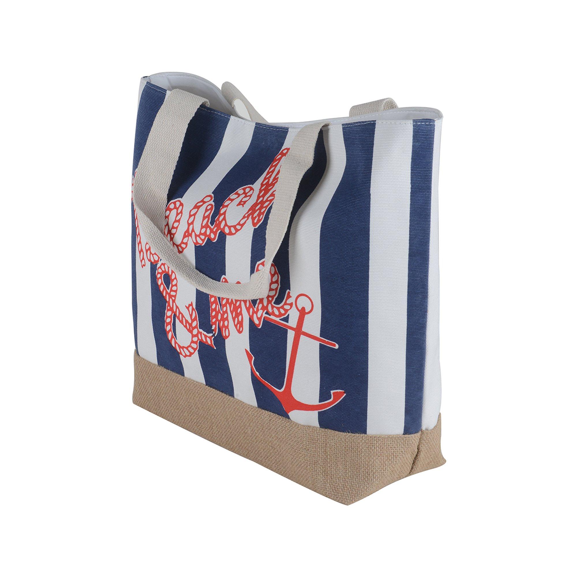 Canvas Burlap Beach & Me Printed Cotton Heavy Shoulder Straps Premium Women Tote Bag by BB (Navy Blue) by BB (Image #2)