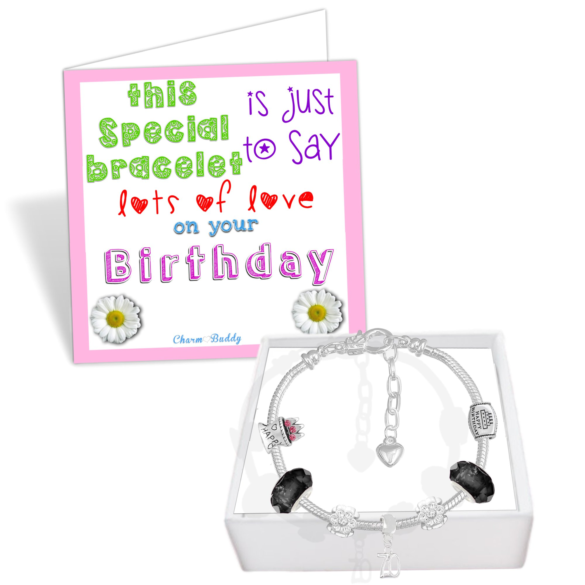 70th Birthday Good Luck Lucky Black Silver Pandora Style Bracelet With Charms Gift Box Jewelry by Charm Buddy (Image #4)
