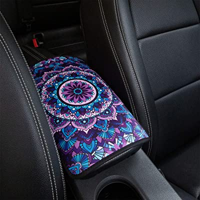 YR Vehicle Center Console Armrest Cover Pad, Universal Fit Soft Comfort Center Console Armrest Cushion for Car, Stylish Pattern Design Car Armrest Cover, Lotus: Automotive