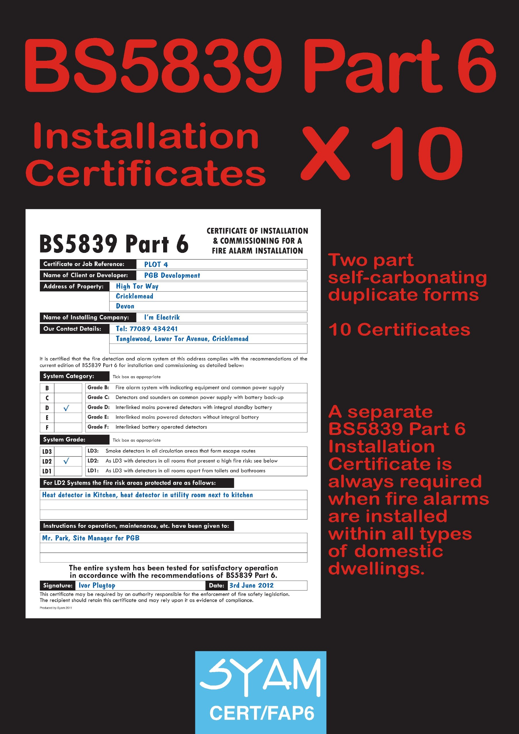 Bs5839 part 6 installation certificate pack amazon syam books yadclub Images