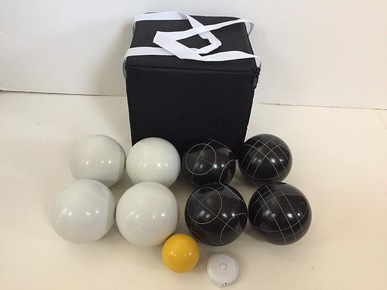 ユニークなボッチェセット 107mm ブラックとホワイトのボール付き ブラックバッグ