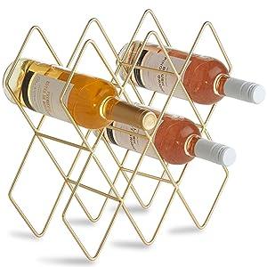 VonShef 10 Bottle Wine Rack Freestanding Bottle Holder Countertop Storage Metal Brushed Gold Geometric Design for Red White Wine