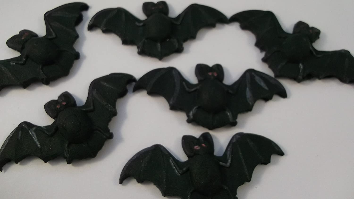 6 Large Edible Bats Halloween Trick or Treat Cupcake Cake Decorations Simply Toppers