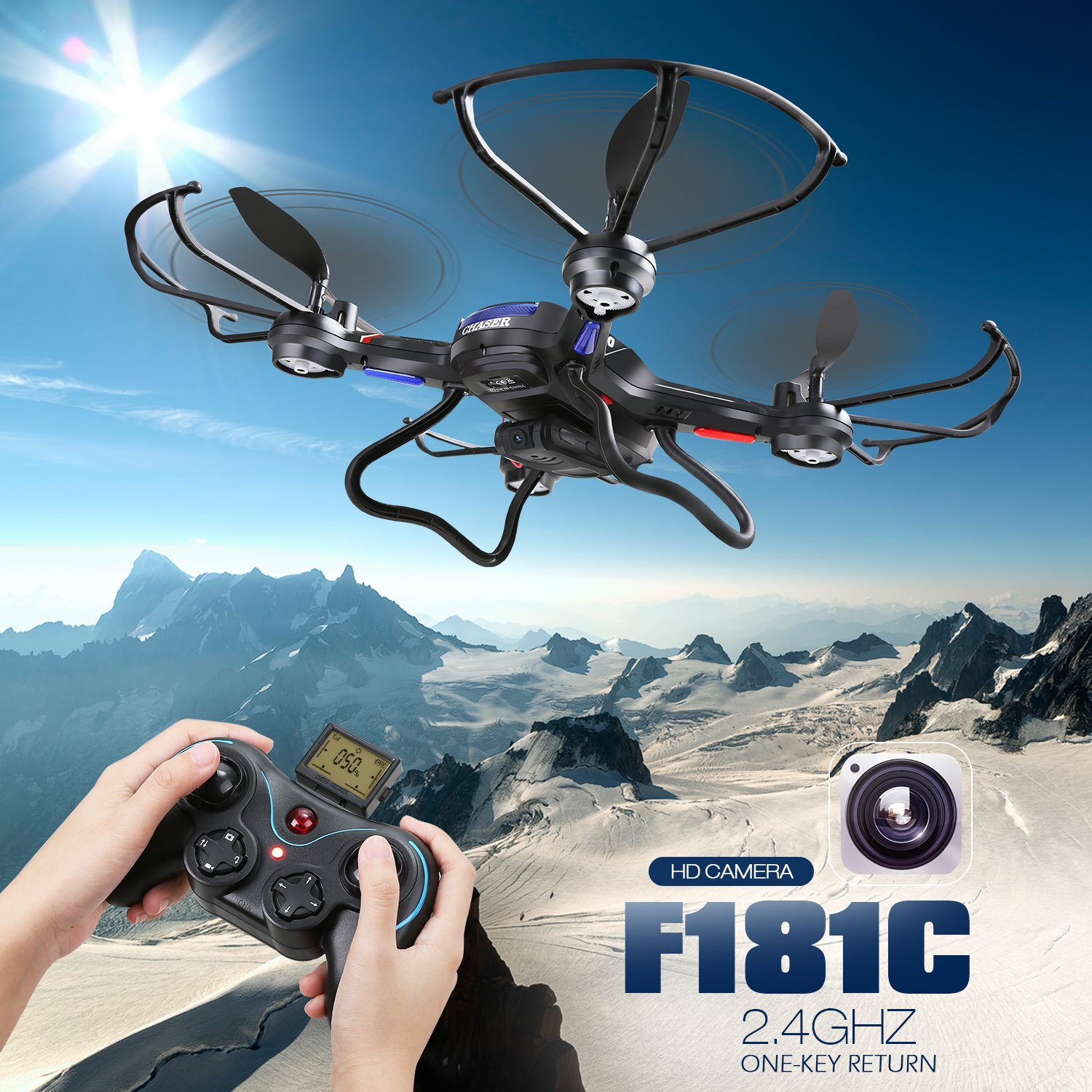Holy Stone F181C RC Quadcopter Drone with HD Camera RTF 4 Channel 2.4GHz 6-Gyro with Altitude Hold Function,Headless Mode and One Key Return Home, Color Black by Holy Stone (Image #4)