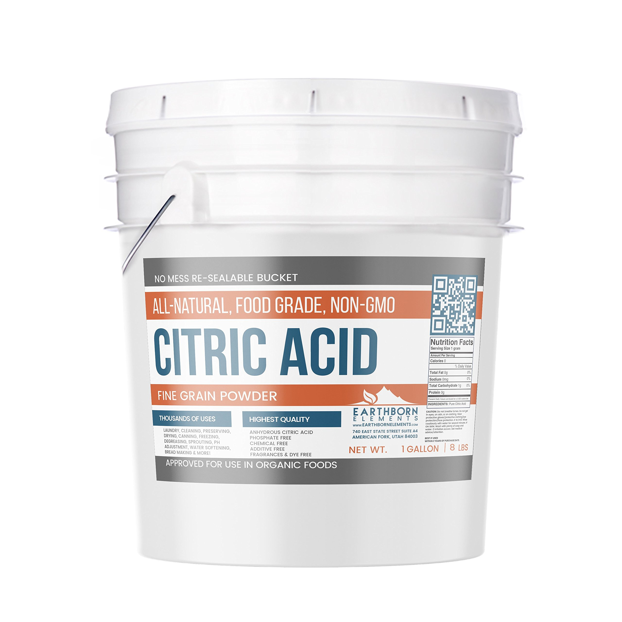 Citric Acid (1 Gallon (8 lbs.)) by Earthborn Elements, Resealable Bucket, All-Natural, Highest Quality, Pure, Food Grade, Non-GMO, Chemical Free