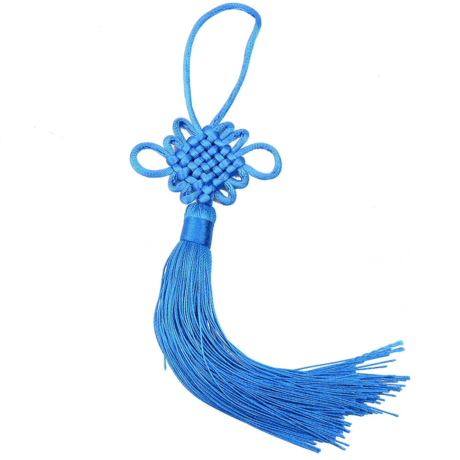 10pcs 8.5 Inch Handmade Silky Floss Chinese Tassel with Satin Silk Made Chinese Knots for Door and Car Handing Decoration, DIY Craft (Coffee) Makhry