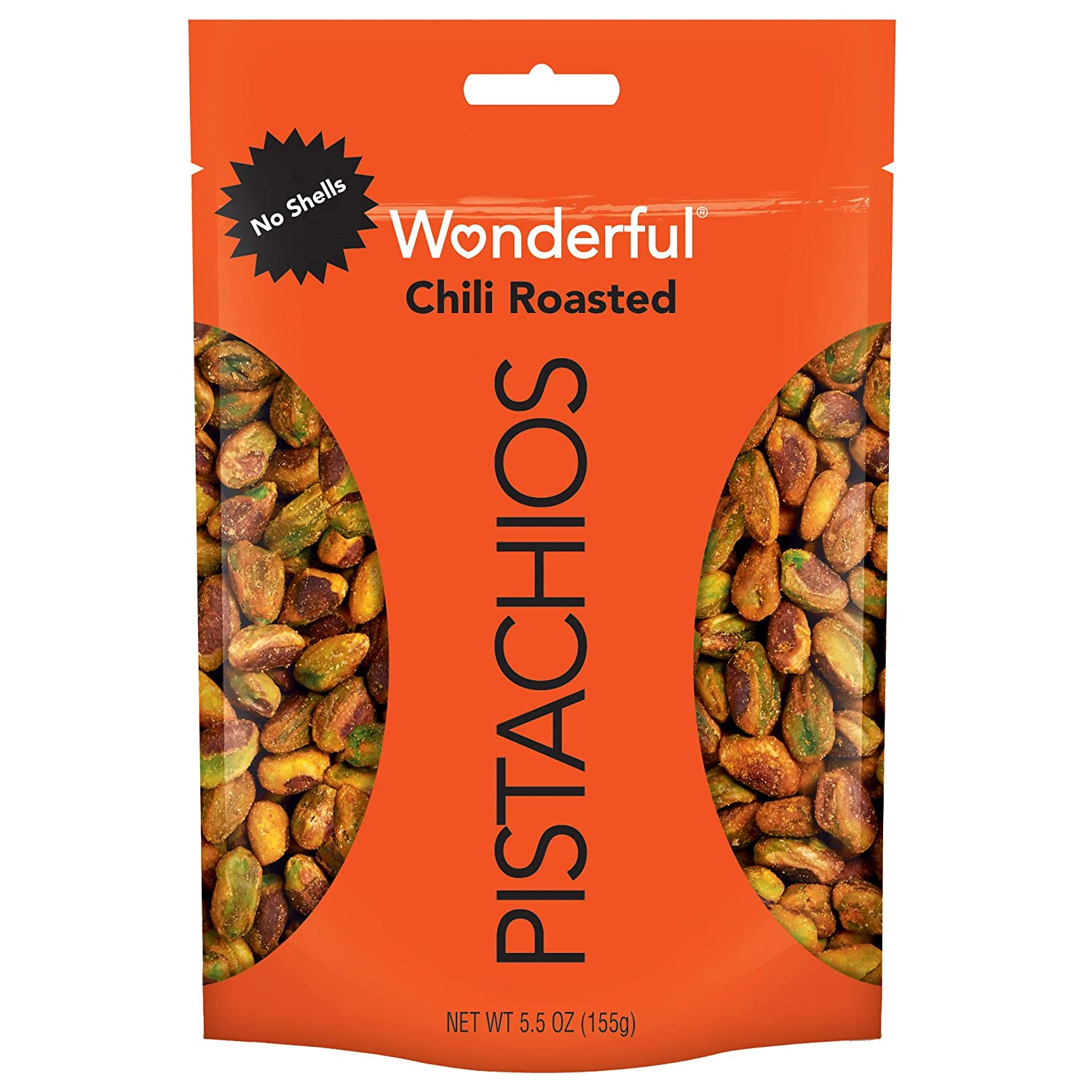 Wonderful Pistachios, No Shells, Chili Roasted, 5.5 Ounce Resealable Pouch