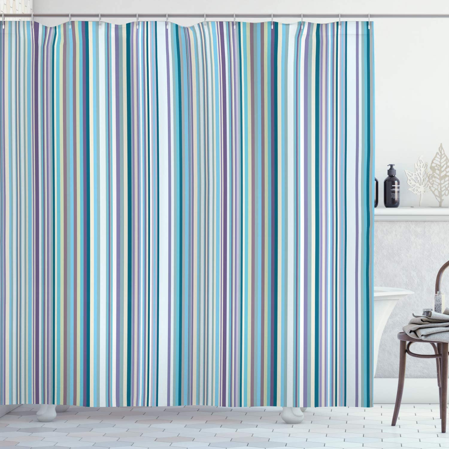 """Ambesonne Striped Shower Curtain, Blue Purple Teal Aqua Lavender Colored Vertical Stripes Geometric Abstract Vintage, Cloth Fabric Bathroom Decor Set with Hooks, 84"""" Long Extra, Light Blue"""
