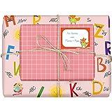 4x Geschenkpapier Einschulung für Mädchen/Kinder (doppelseitig, rosa) + 4 Aufkleber/Schulheft-Etiketten (Schulanfang, Schule, Schulkind) | (Einzelbögen 42x59cm, DIN A2)