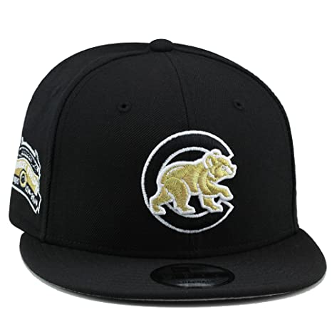 8ce979ef55ef1 Amazon.com  New Era 9fifty Chicago Cubs Snapback Hat Cap Black Gold 100th  Anniversary Patch  Sports   Outdoors