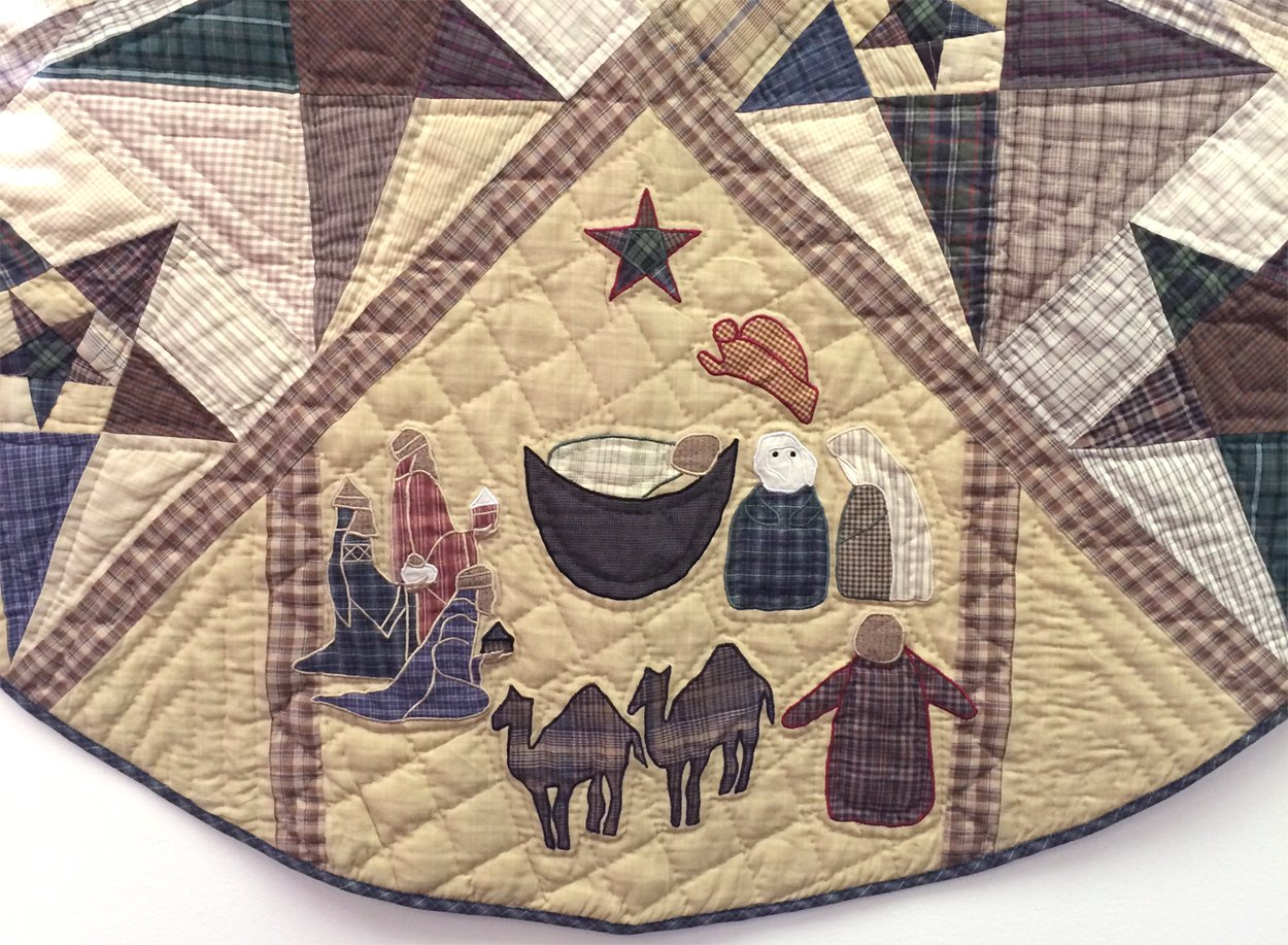 Primitive Star with Nativity Quilted Christmas Tree Skirt 60 Inches Round 100% Cotton Handmade Hand Quilted Appliqued Embroidered Heirloom Quality by Choices Quilts (Image #2)