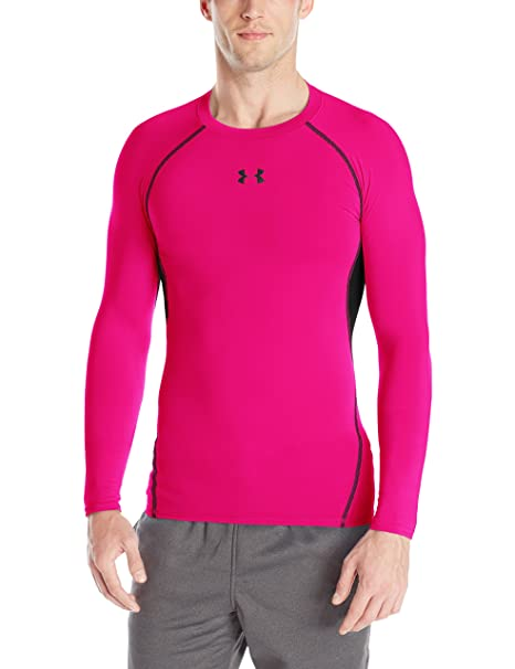 Under Armour Mens HeatGear Armour Long Sleeve Compression Shirt, Tropic Pink /Black, Large