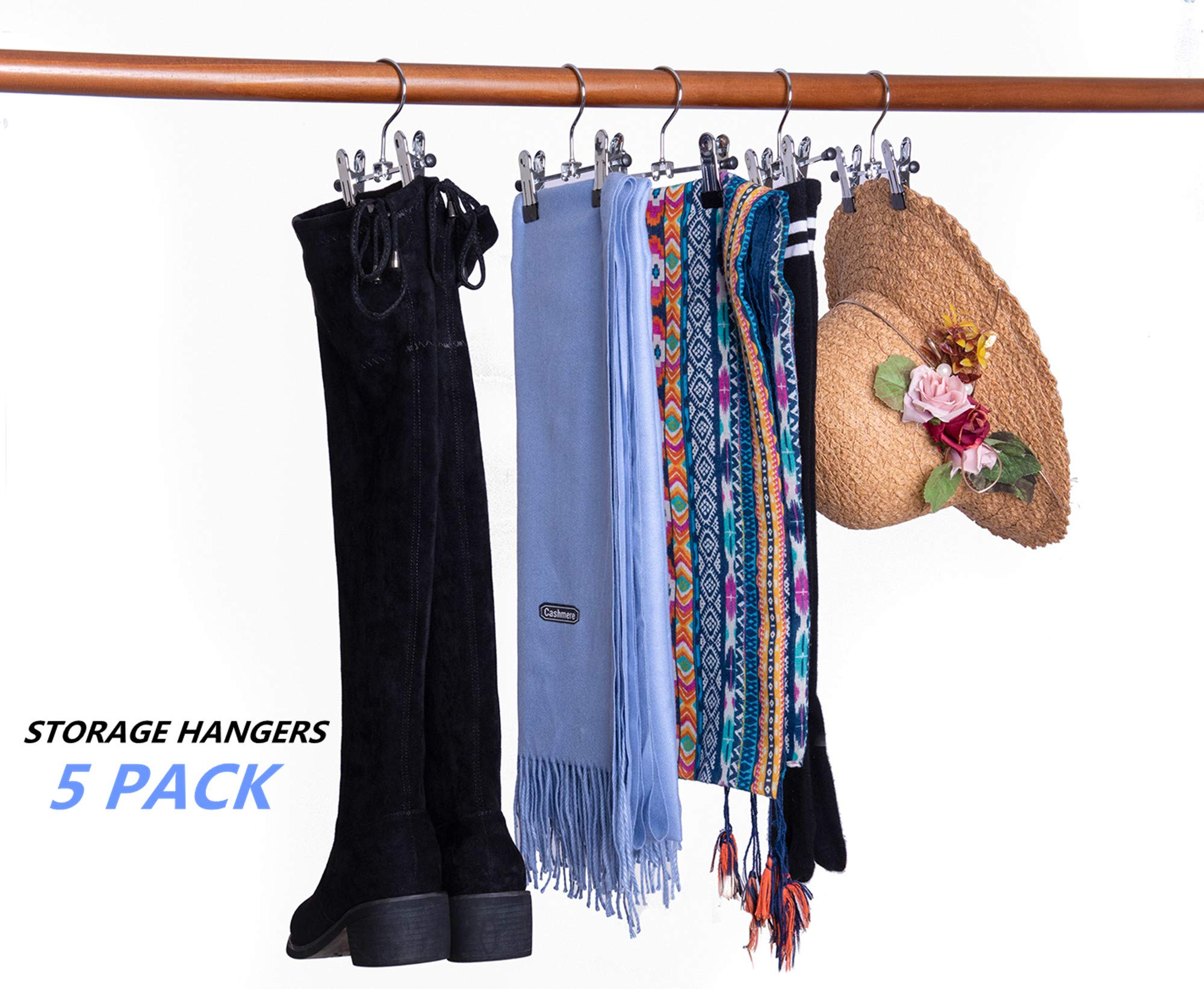 Portable Multfunctional Hangers for Socks Hats Towels Amber Home 6 Metal Boots Hangers with Clips 20 Pack