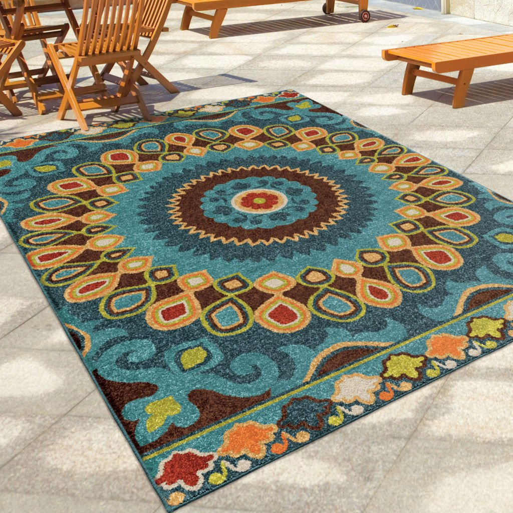 Amazon.com: Contemporary, Bohemian Style 5u0027 X 8u0027 Indoor/Outdoor Stain  Resistant Geo Bongkok Multi Area Rug: Kitchen U0026 Dining