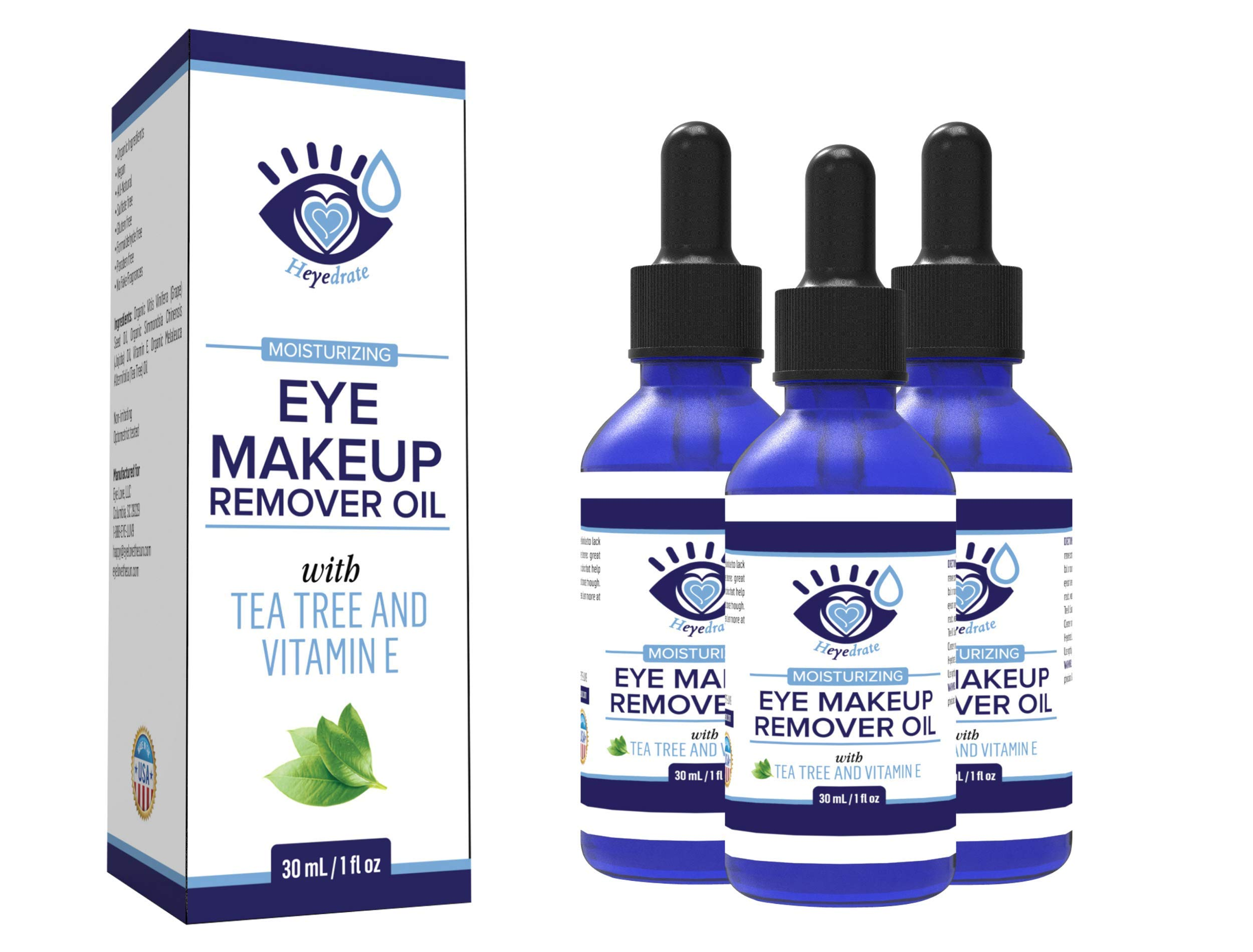 Gentle, Waterproof Eye Makeup Remover - Moisturizing and Organic with Vitamin E and Tea Tree Oil to Support Dry, Itchy Eyelids and Irritated Eyes (3 Pack) by Eye Love