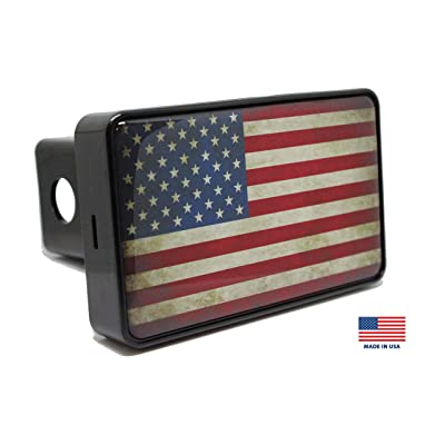 Bright Hitch - Rustic American Flag Hitch Cover: Automotive