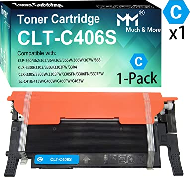 Remanufactured Toner Cartridge Replacement for Samsung CLT-406S Toner Cartridge for Use with Samsung CLP-360 365 SL-C410W CLX-330 3305 3305W Laser Printer-Combination