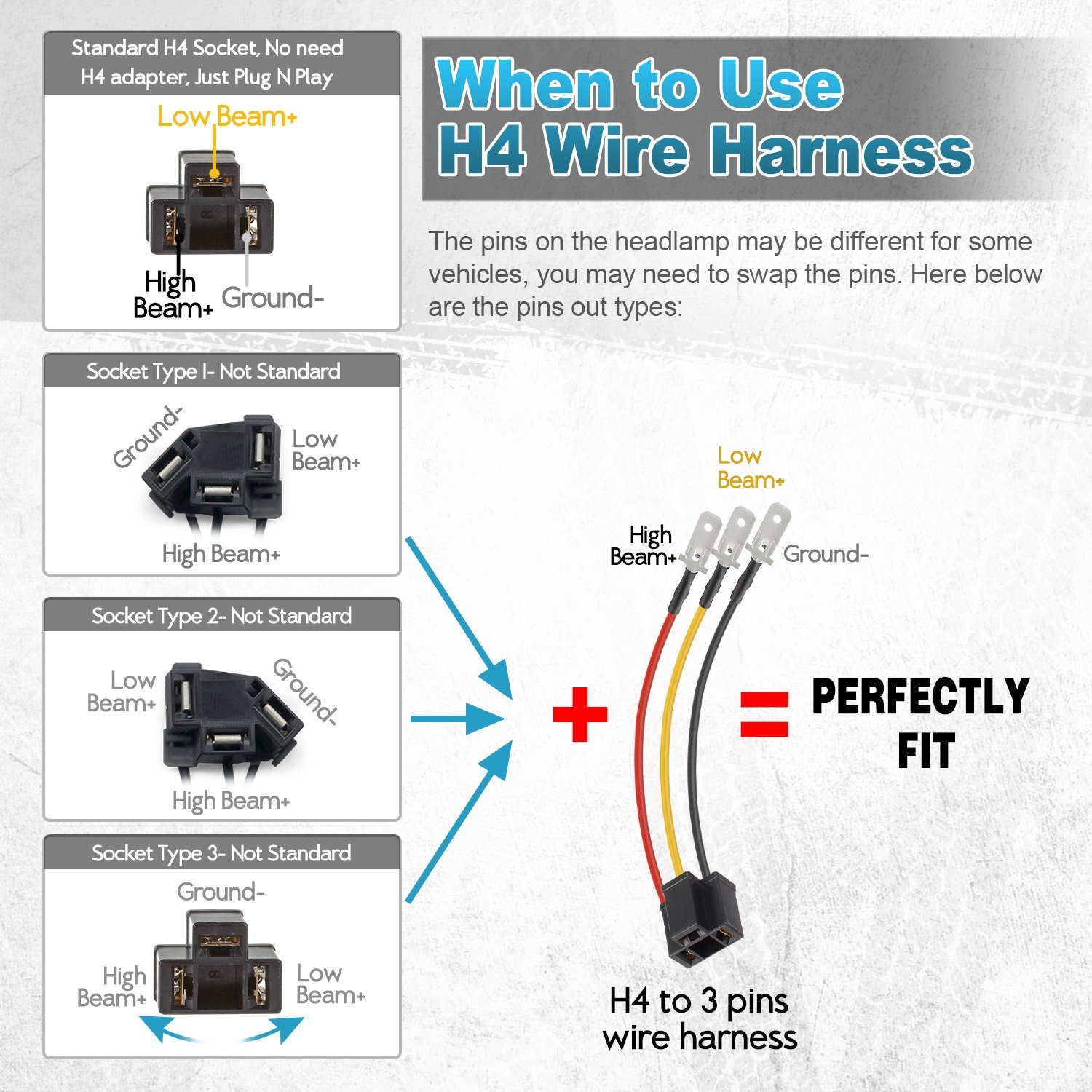 Partsam 2x 4x6 Inch Led Headlights Rectangular Sealed Diagram Also Trailer Wiring Color Code On H4 Headlight Beam Headlamp H4651 H4652 H4656 H4666 H6545 Replacement Socket Hi Lo Peterbilt 379