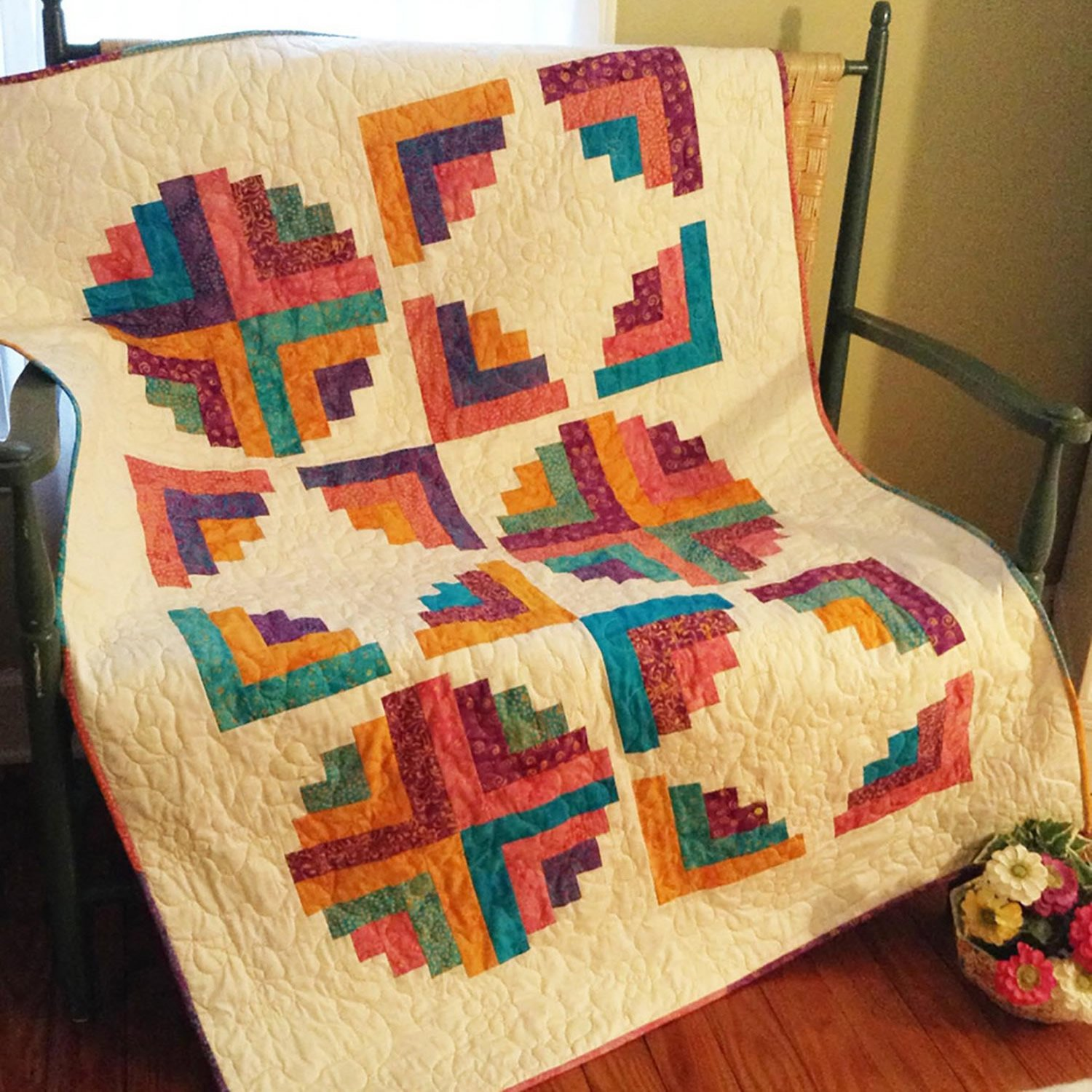 Hopscotch Curvy Log Cabin Quilt Pattern by Cut Loose Press and Natural Comforts Quilting
