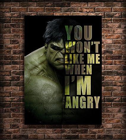 Amazon Hulk Poster Quotes Wall Art Print A60 60x60 Inches Stunning Hulk Quotes