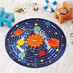 HEBE Round Kids Rugs Solar System Children's Fun Educational Learning Carpet Playmat Non Skid Nursery Kids Area Rug for Playroom Bedroom Machine Washable,3.3 Feet