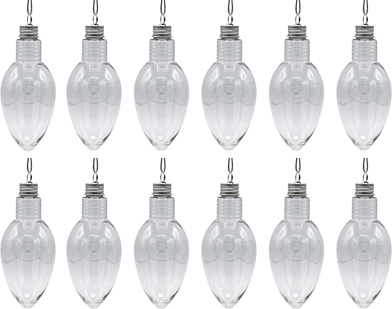12 Pack - 5.5 Inch Christmas Light Bulb Ornament, Clear Plastic Fillable DIY Light Bulb w/Screw Caps -Great for DIY Crafts, Candy