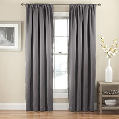 Eclipse 14378052084GRE Tricia Rod Pocket 52-Inch by 84-Inch Single Blackout Curtain Thermapanel, Grey