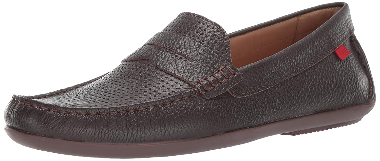 Brown Grainy Perforated MARC JOSEPH NEW YORK Mens Mens Genuine Leather Union Street Driver Loafer