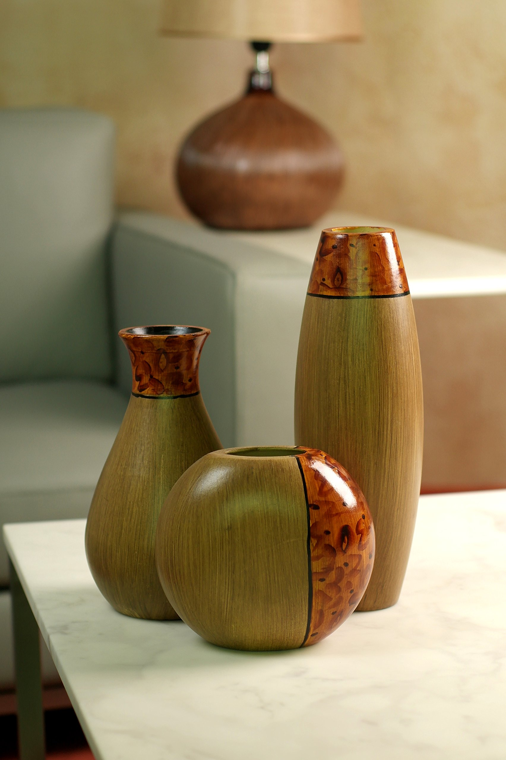 Hosley's Set of 3 Burlwood Vases. Ideal Gift for Wedding or Special Occasion and for Home Office, Decor, Floor Vases, Spa, Aromatherapy Settings O3 by Hosley (Image #5)