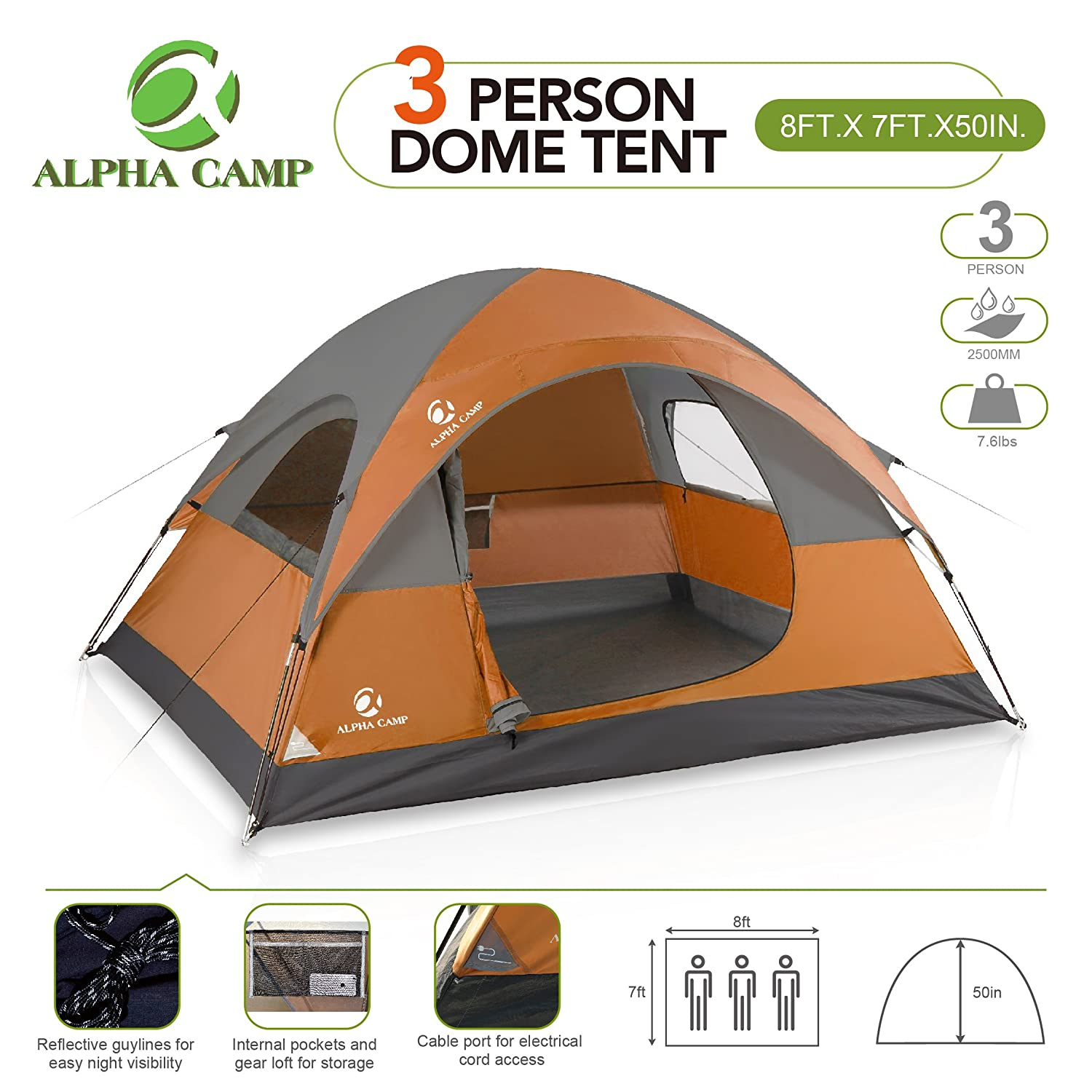 ALPHA CAMP 3 Person Tent for Camping Tent Easy Setup – 8 x 7