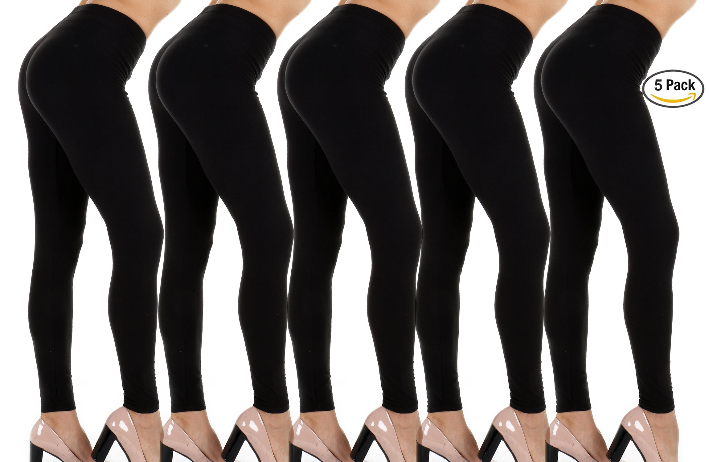 Super Soft- 4way Stretch-Non See Thru- Light Weight Premium Quality Leggings– Camo, Prints & Solid Colors (OneSize, 5-Pack (5 Black))