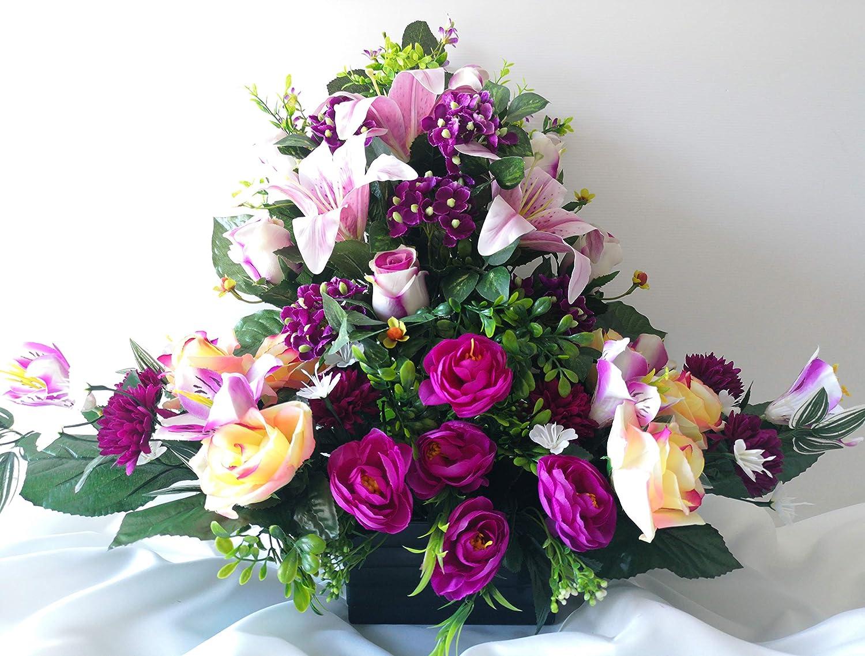 Largeur//32cm roselynexpress Composition de Fleurs Artificielles Lest/é Ciment pour Une Parfaite Tenue /à L ext/érieur R/éalis/é par Nos Soins Fleurs de Qualit/é Dimension Longueur//74cm.