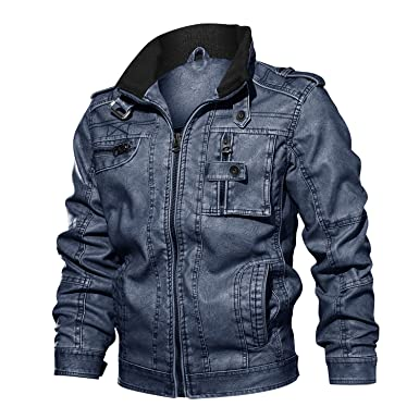 cbde46efbb6d CRYSULLY Male Casual Full-Zip Retro PU Faux Leather Coat Fashion Slim Fit PU  Motorcycle