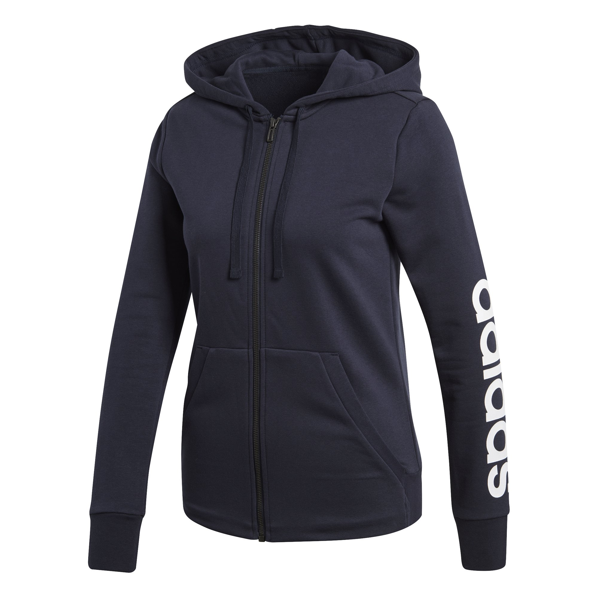 adidas Women's Essentials Linear Full Zip Hoodie Legend Ink/White X-Small by adidas (Image #2)