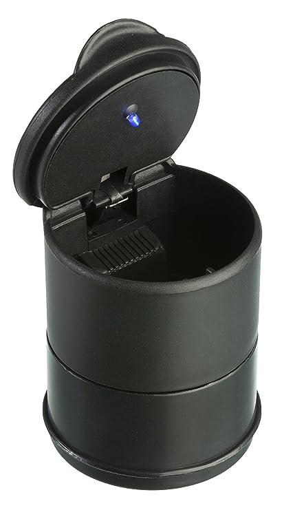 Cenicero del Coche con LED Azul - Portavasos de Plástico para Cenicero con Tapa y LED