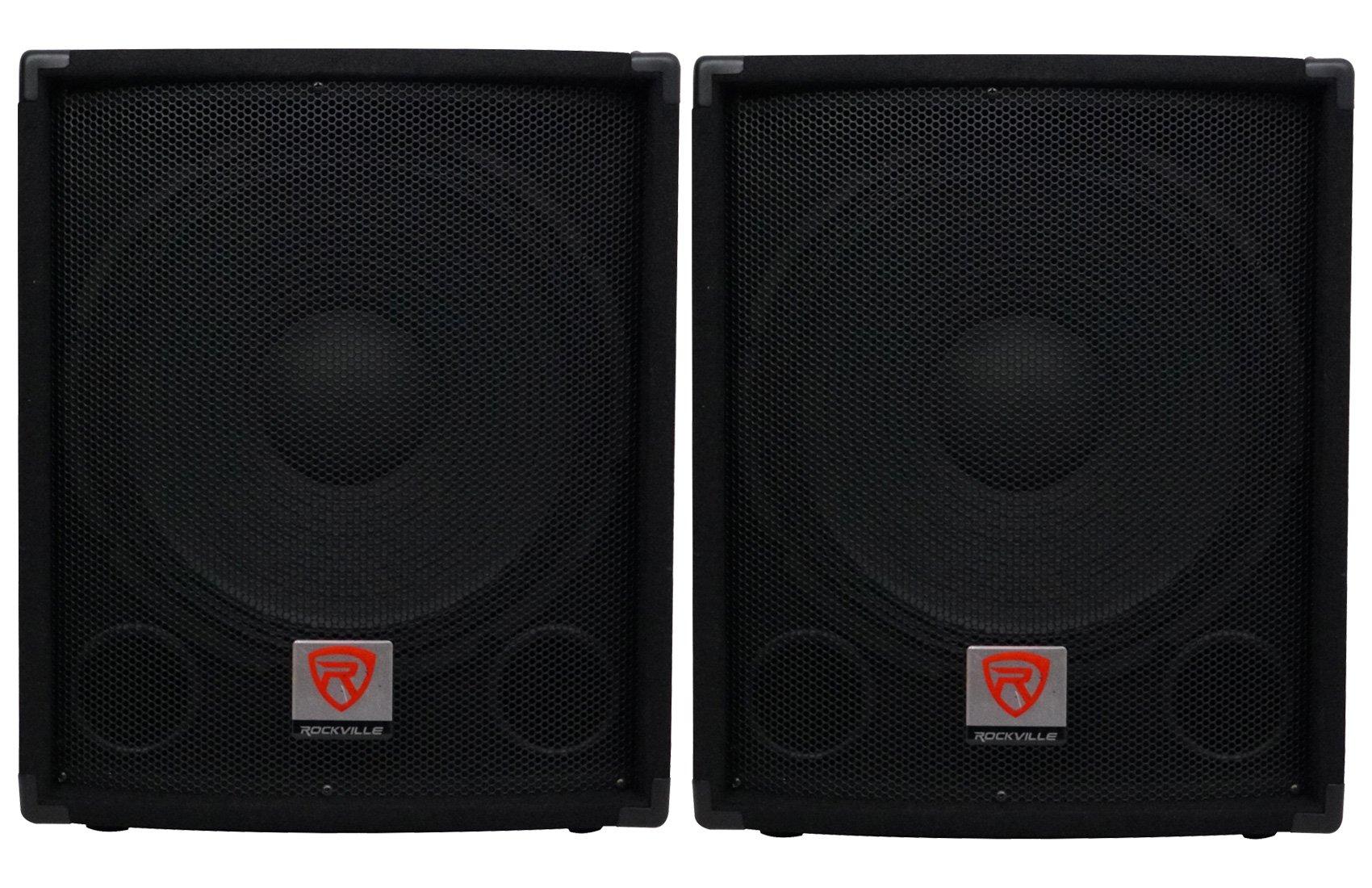 (2) Rockville SBG1154 15'' Passive Pro DJ Subwoofers Totaling 1600 Watt w/ MDF Cabinet, Molded Steel Grill, and Pole Mount
