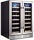 Kalamera Wine Cooler - Fit Perfectly into 24 inch Space Under Counter or Freestanding - Dual Zone - For Kitchen or Bar…