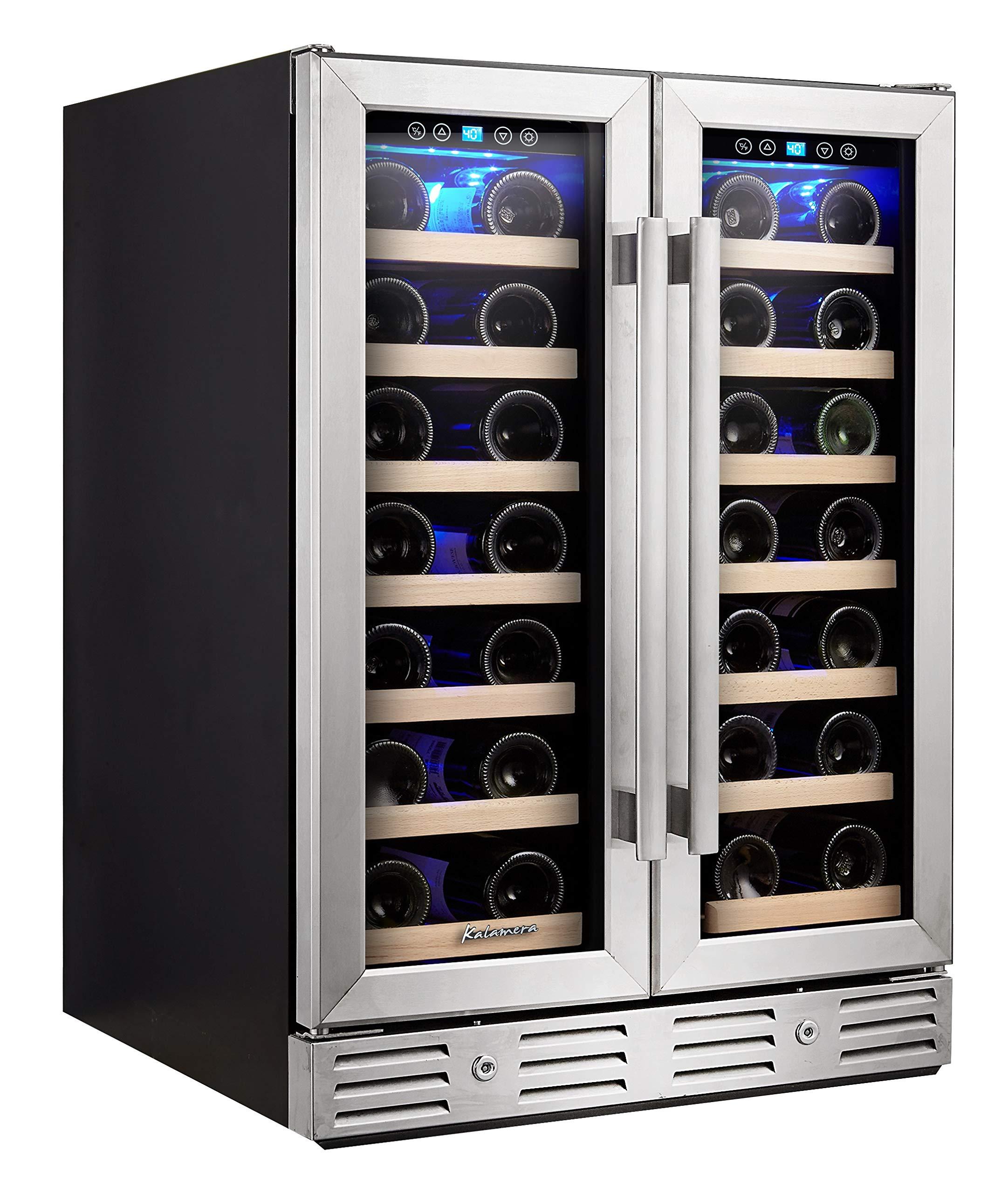 Kalamera Wine Cooler - Fit Perfectly into 24 inch Space Under Counter or Freestanding - Dual Zone - For Kitchen or Bar with Blue Interior Light and Temperature Memory Function by Kalamera