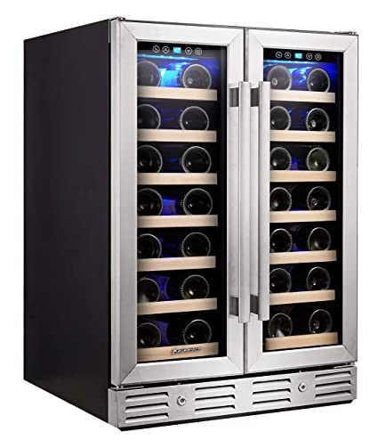 Kalamera Wine Cooler - Fit Perfectly into 24 inch Space Under Counter or  Freestanding - Dual Zone - For Kitchen or Bar with Blue Interior Light and  ...