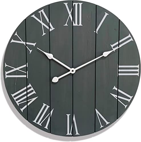 Large Farmhouse Wall Clock – Rustic Farmhouse Clock – Wood Farmhouse Clock – Rustic Vintage Decoration – 24 Wall Clock Grey – Big Rustic Clock – Farmhouse Wall Clock 24 – Large Wall Clock 24 Inch