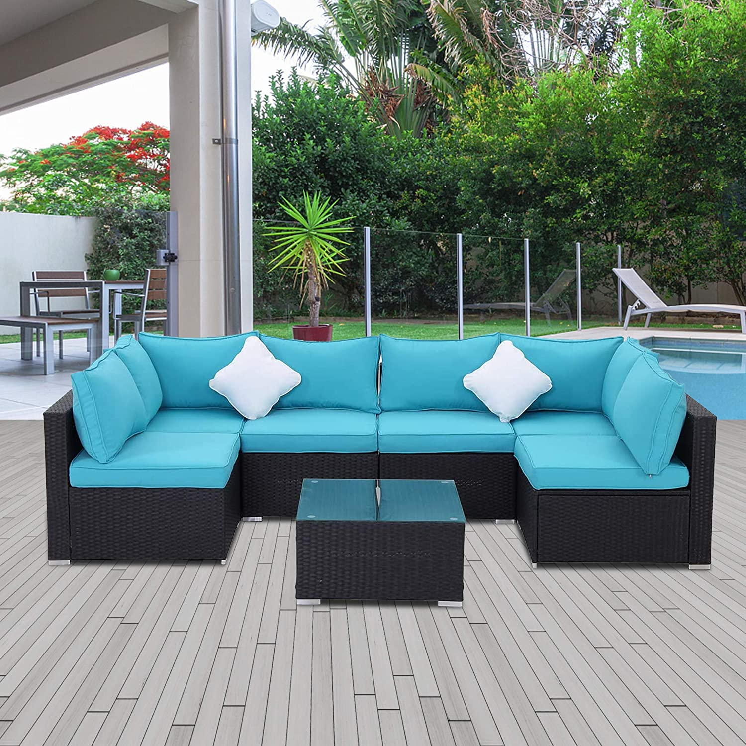Sunvivi Outdoor 7 Piece Patio All Weather Pe Wicker Furniture Set Outdoor Sectional Conversation Sofa Set With Glass Table Removable Cushions Black Turquoise Furniture Decor