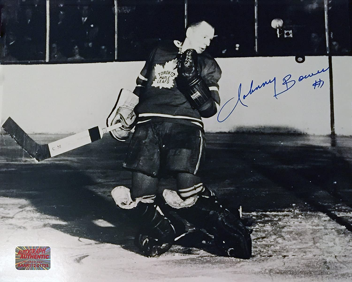 Autographed Johnny Bower 8x10 BW Photo - Toronto Maple Leafs Autograph Authentic