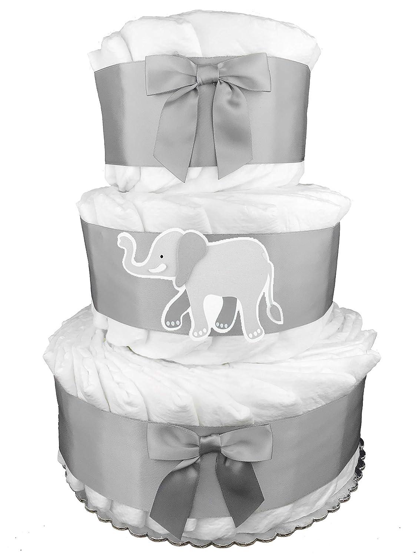 Elephant 3-Tier Diaper Cake – Baby Shower Gift – Centerpiece – Gray