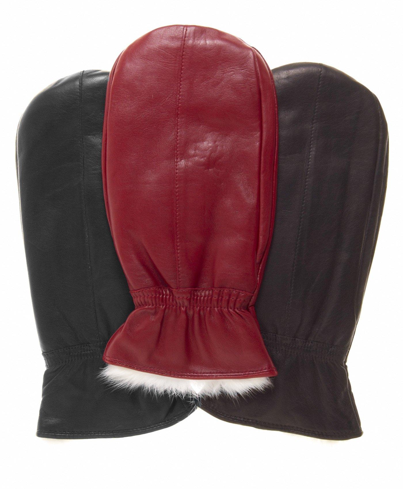 Pratt and Hart Women's Rabbit Fur Leather Mittens Size M Color Black by Pratt and Hart