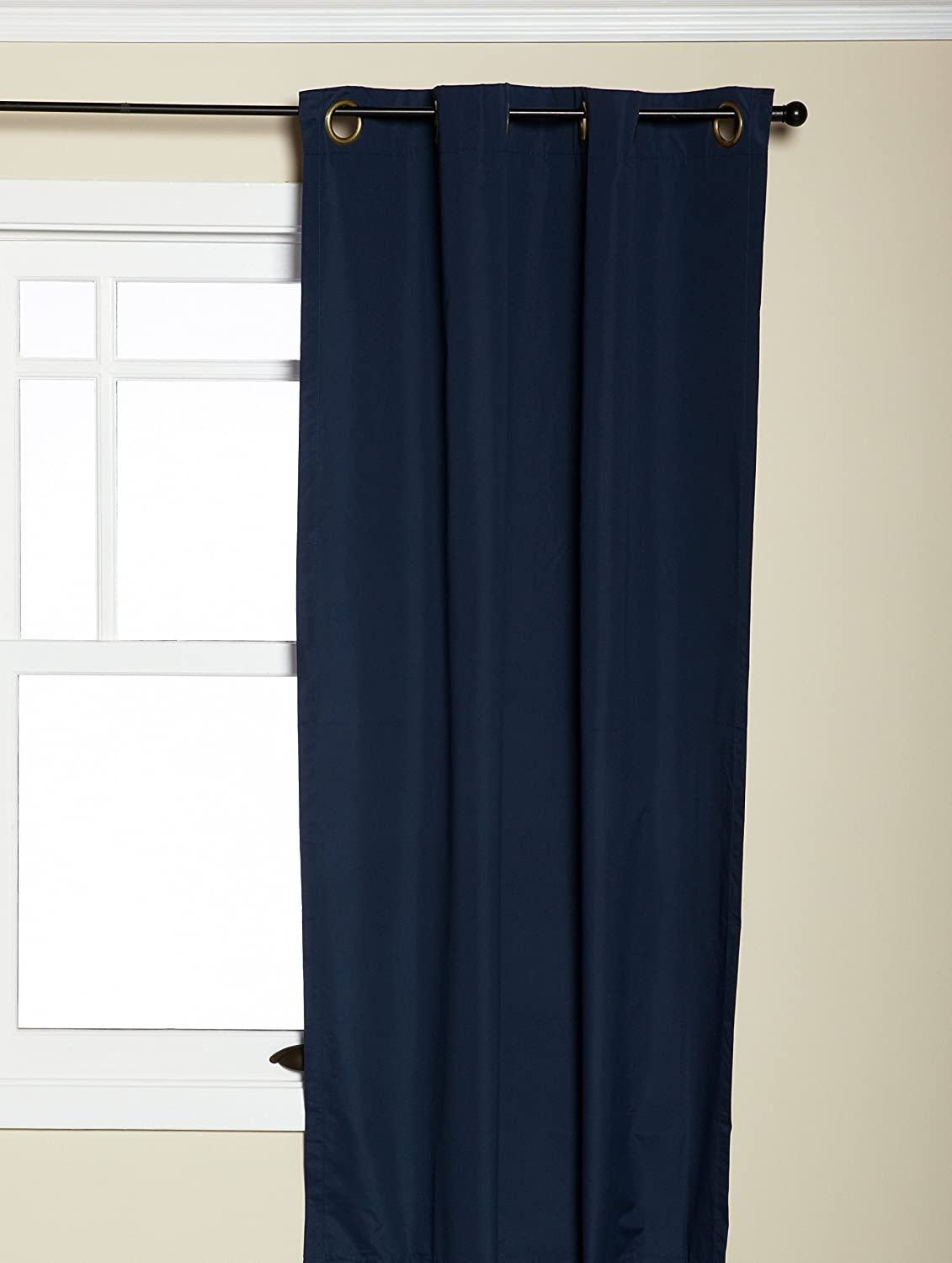 Amazon.com: Eclipse 10708042X063NVY Microfiber 42 Inch By 63 Inch  Thermaback Grommet Blackout Single Window Panel, Navy: Home U0026 Kitchen