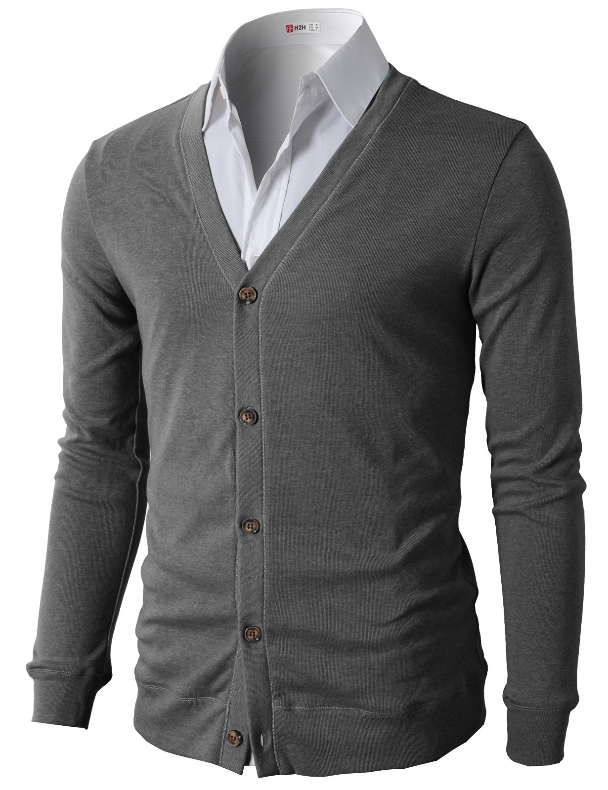 H2H Men's Basic Solid Button Cardigan Gray US M/Asia L (CMOCAL012)