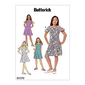 Butterick Patterns B6550CHJ Sleeveless Girls Dress Sewing Patterns White 7-8-10-12-14