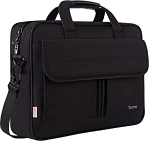 17 inch Laptop Bag, Laptop Briefcase Business Office Bag for Men Women, Taygeer Water-Repellent Computer Shoulder Messenger Bag with Organizer Fits 15.6 17 Inch Notebook MacBook HP Table, Black