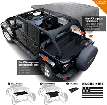 GPCA Jeep Wrangler JK 4DR Freedom Pack LITE Cargo Cover LITE and Cargo Organizer Tailgate Cover for Sport//Sahara//Freedom//Rubicon 2007-2018 Models